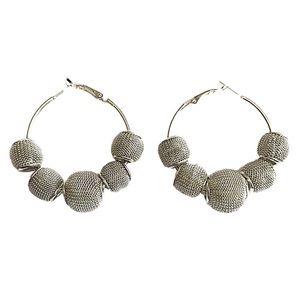Jewelry - Silver Tone Hoops w/Mesh Bead Earrings  NWT